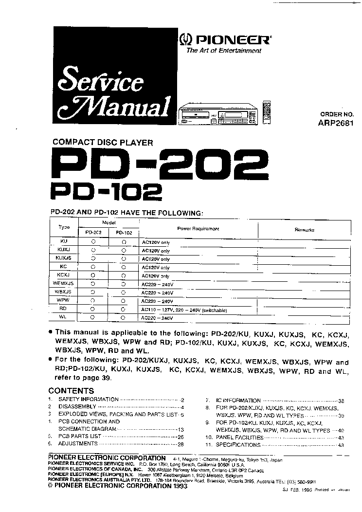 PIONEER PD102 PD202 Service Manual download, schematics