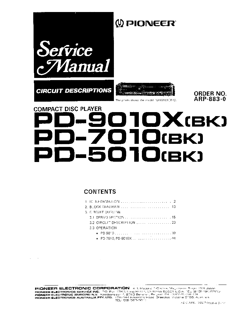PIONEER SA-408 Service Manual download, schematics, eeprom