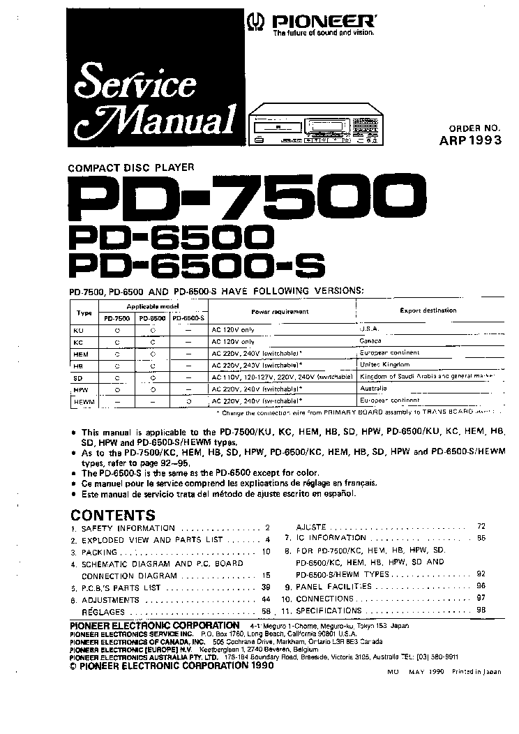 PIONEER PD6500 PD7500 Service Manual download, schematics