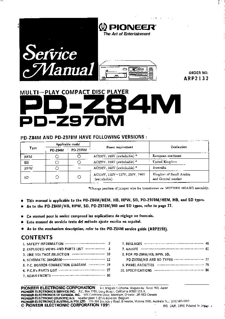 PIONEER PDZ84M PDZ970M SM Service Manual download