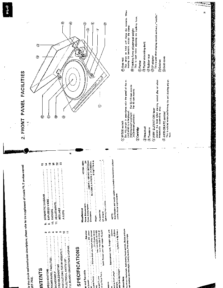 PIONEER PL-2 PL-120 ART7130 TURNTABLE Service Manual