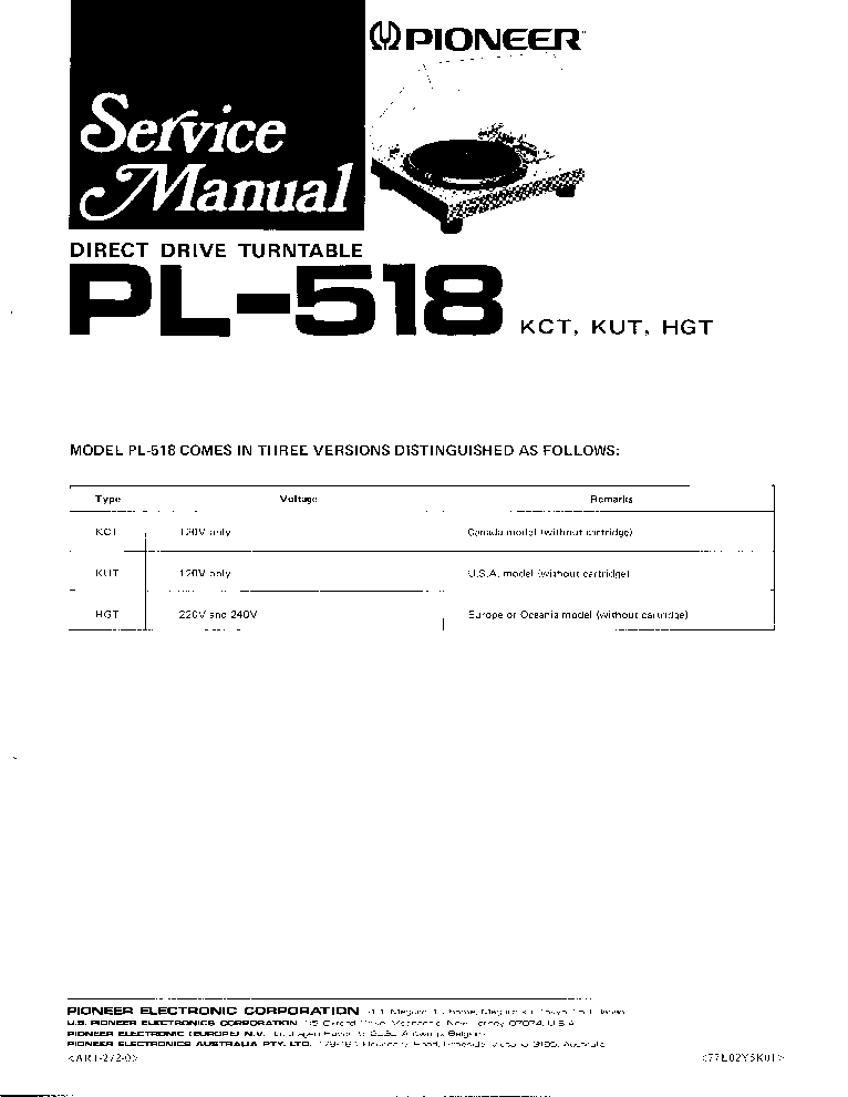 PIONEER PL-518 Service Manual download, schematics, eeprom