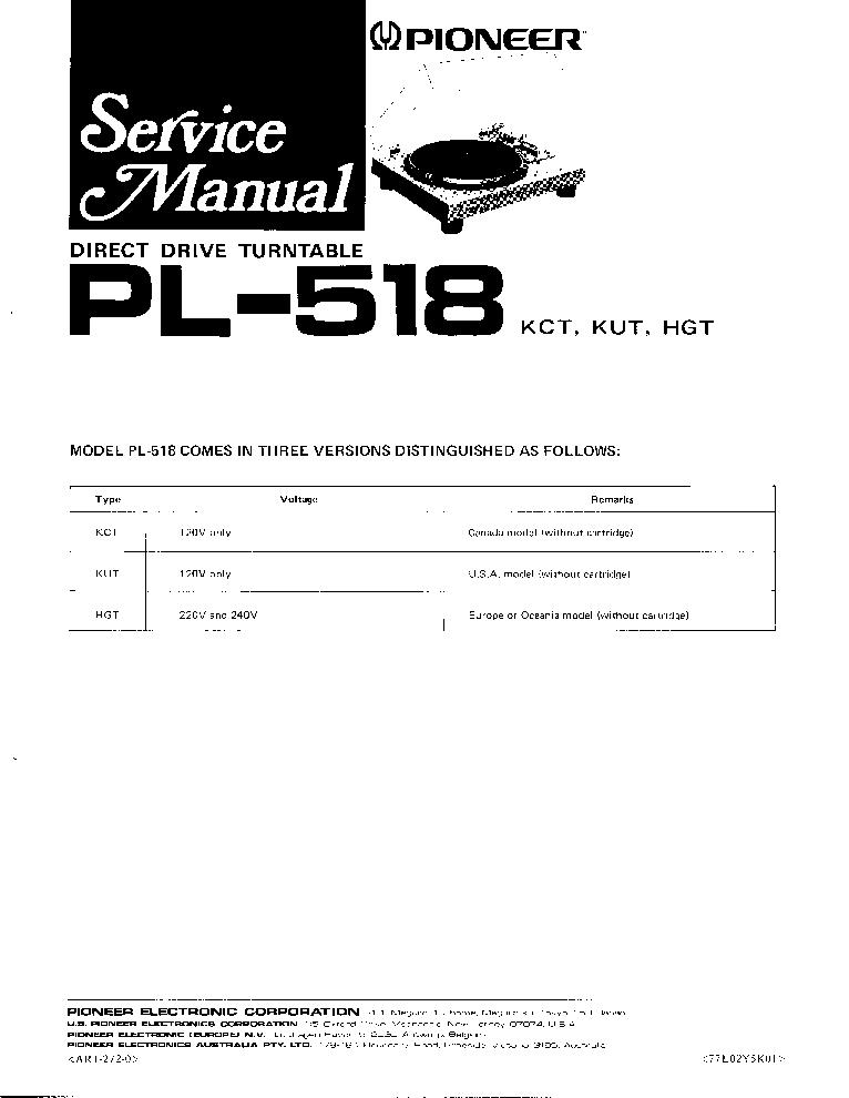 PIONEER PL-518DD Service Manual download, schematics