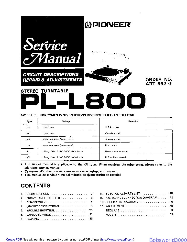 PIONEER PL-L800 SM Service Manual download, schematics