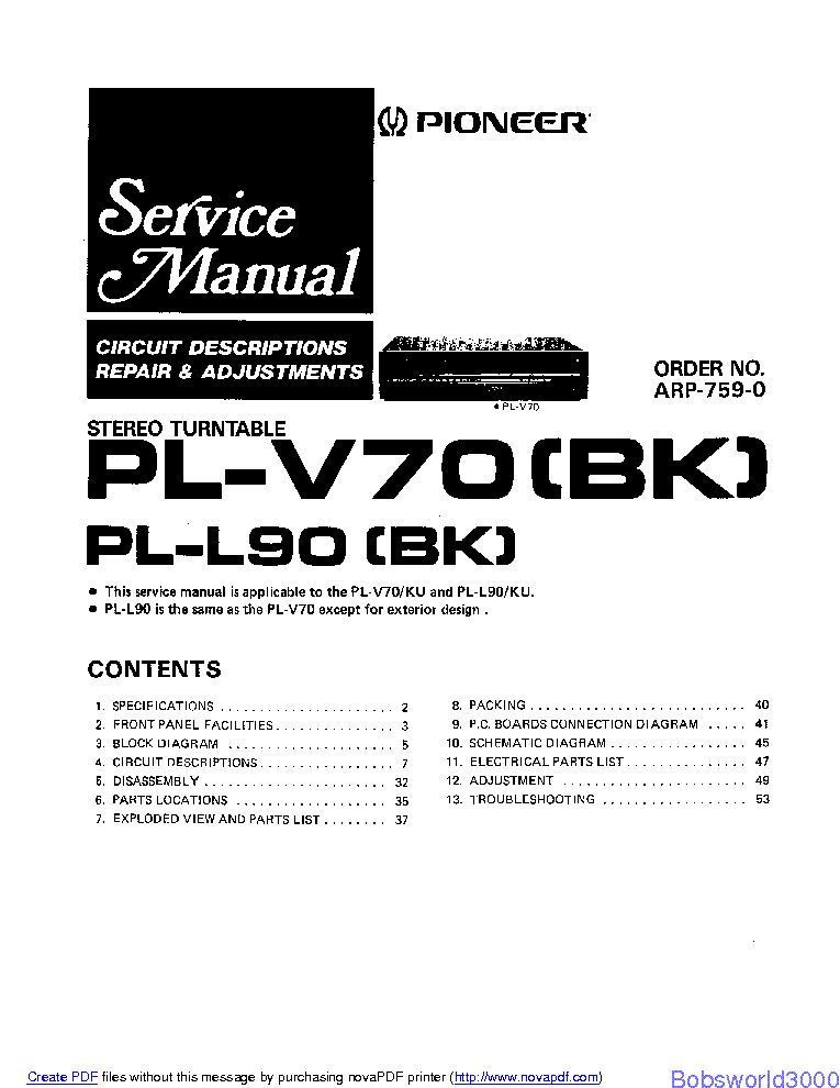 PIONEER PL-V70 SM Service Manual download, schematics