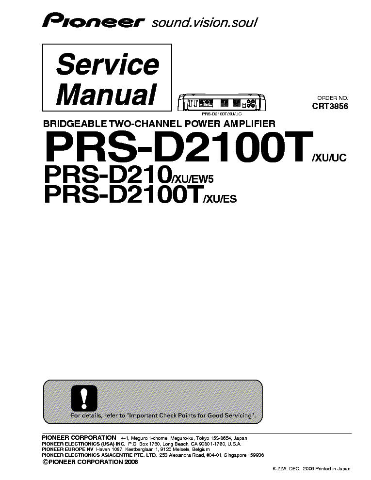 PIONEER PD-S502 Service Manual free download, schematics