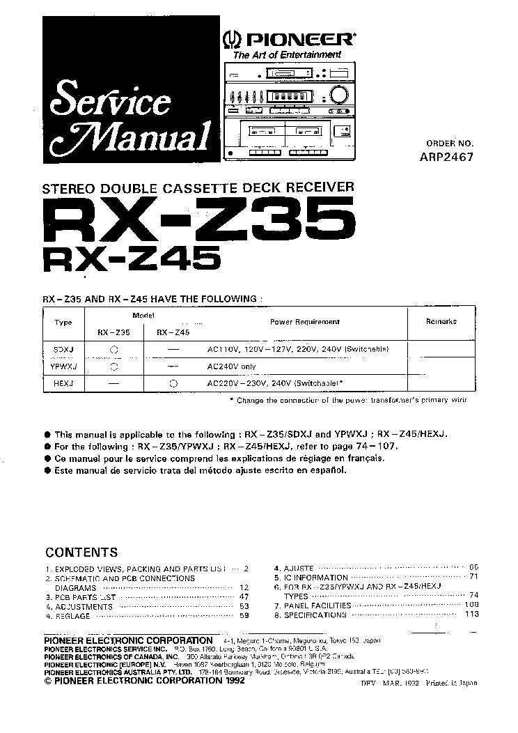 PIONEER RX-Z35 RX-Z45 SM Service Manual download