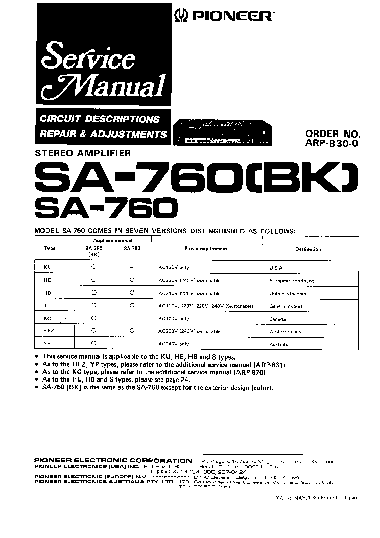 PIONEER SA-760 760BK SM Service Manual download