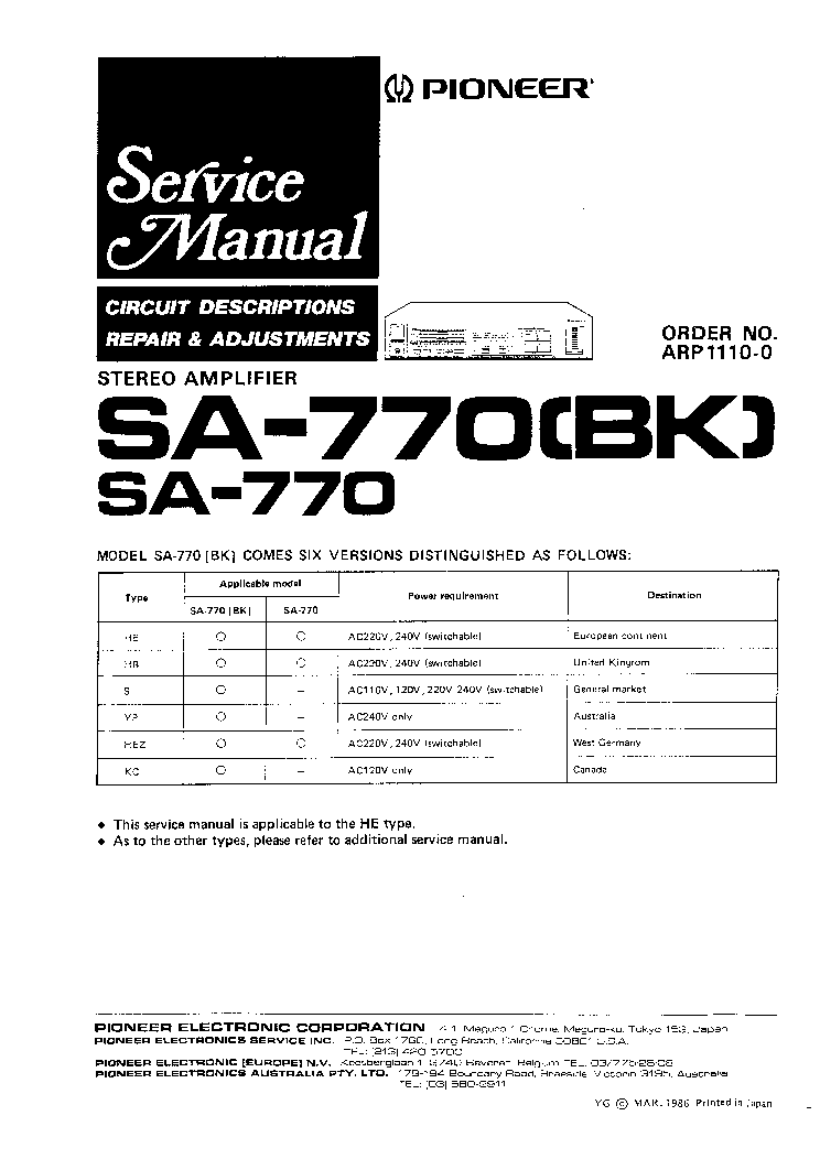PIONEER SA770 Service Manual download, schematics, eeprom