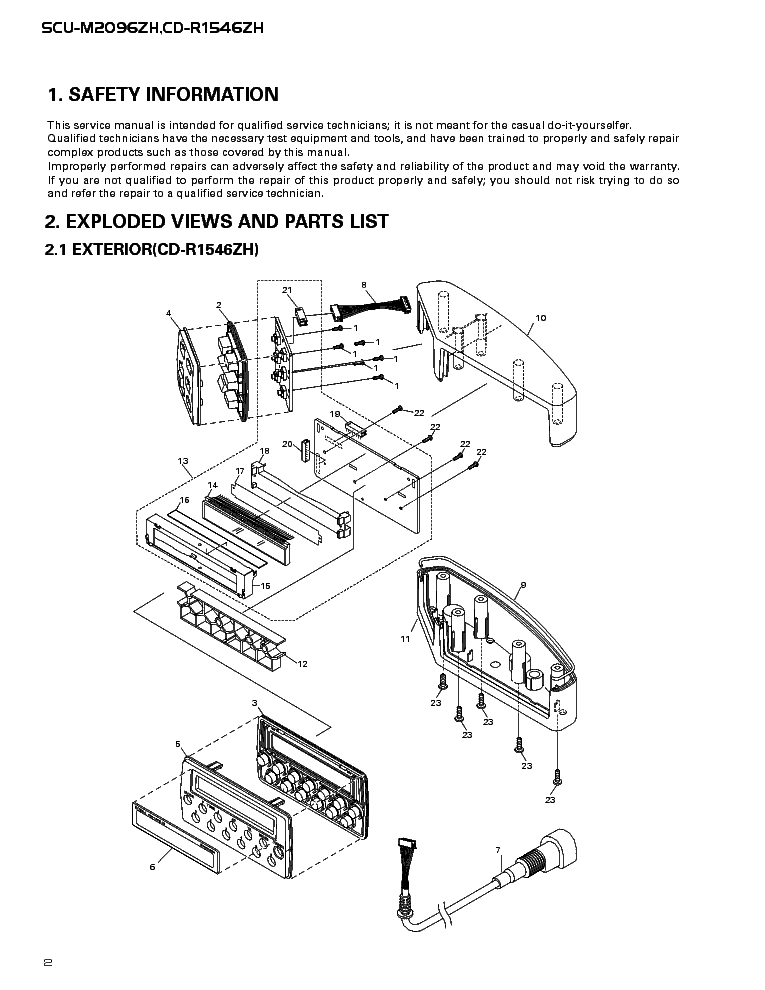 PIONEER SCU-M2096 CD-R1546 HONDA SM Service Manual