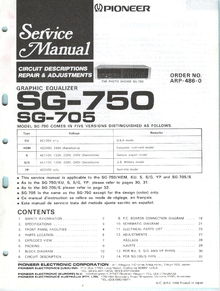PIONEER SG-705 750 SM Service Manual download, schematics