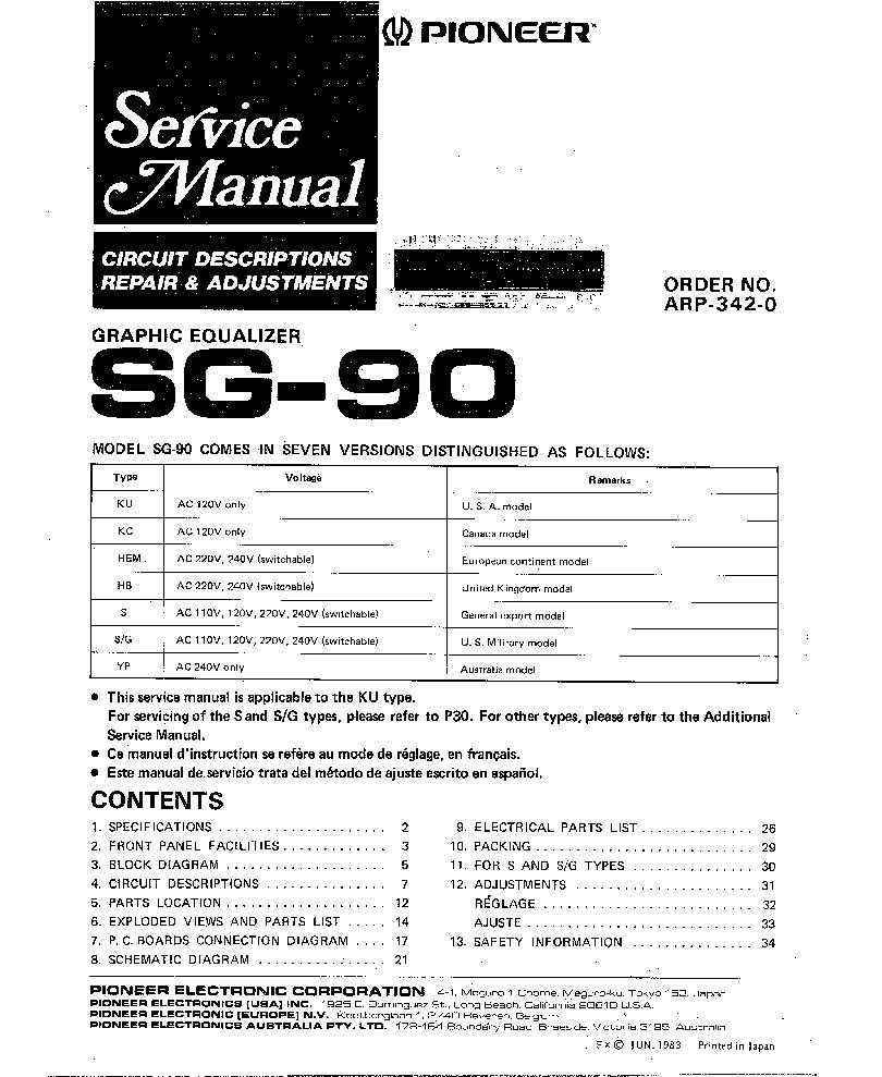 PIONEER SG-90 SM Service Manual download, schematics