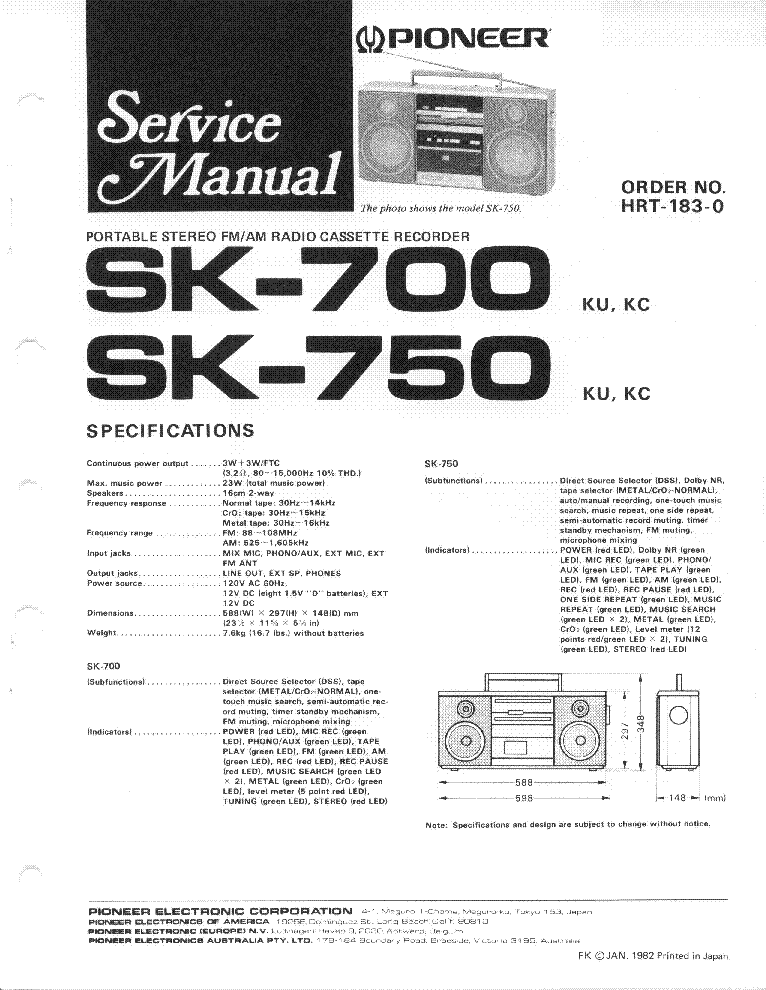 PIONEER SA-620 Service Manual free download, schematics