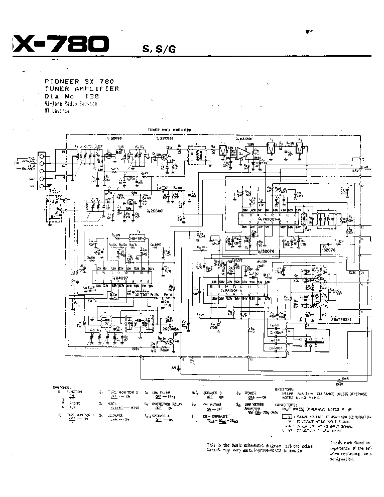 PIONEER SX-780 Service Manual download, schematics, eeprom