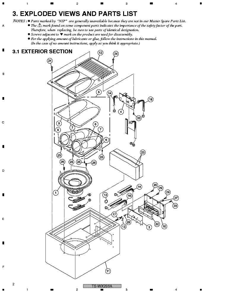 PIONEER TS-WX206A Service Manual download, schematics