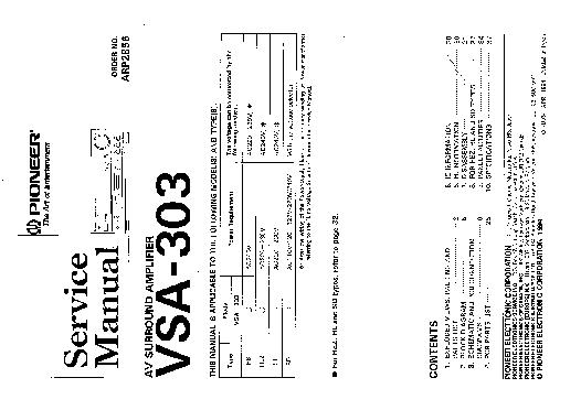 PIONEER VSA303 Service Manual download, schematics, eeprom