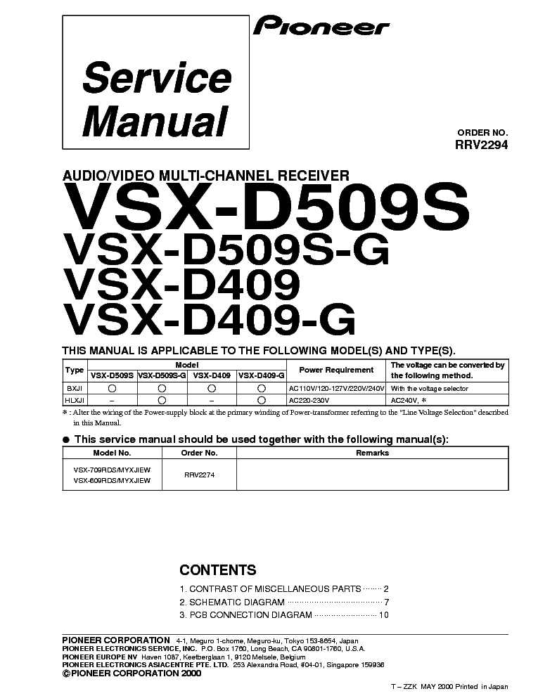PIONEER VSX-D509S-G,D409-G Service Manual download