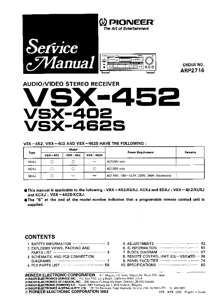 PIONEER VSX452 SM Service Manual download, schematics