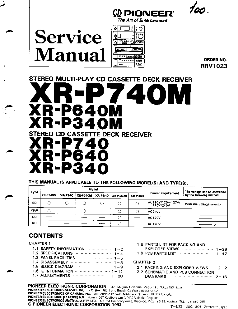PIONEER CX J400 J300 ARP2401 Service Manual free download