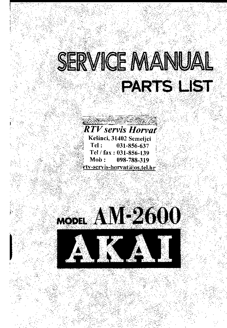 AKAI AM2600 SM Service Manual free download, schematics