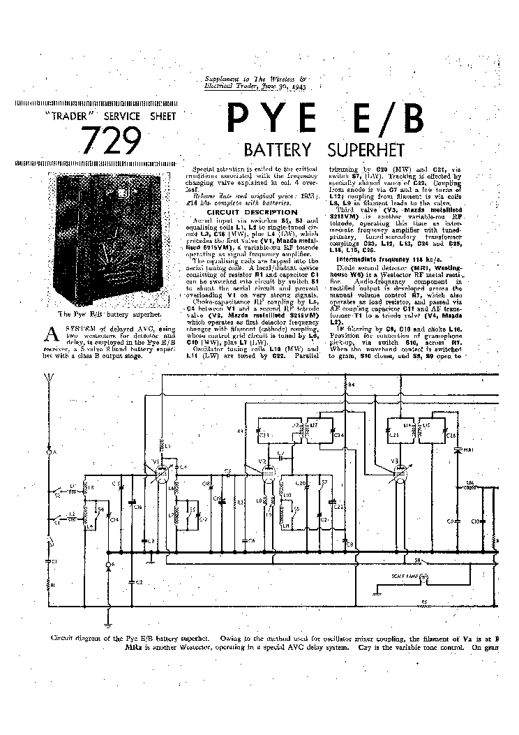 PYE E-B BATTERY RADIO 1945 SM Service Manual download