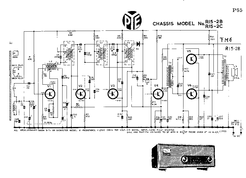 PYE R15-2B-2C TABLE 6V-TRANSISTOR RADIO SM Service Manual