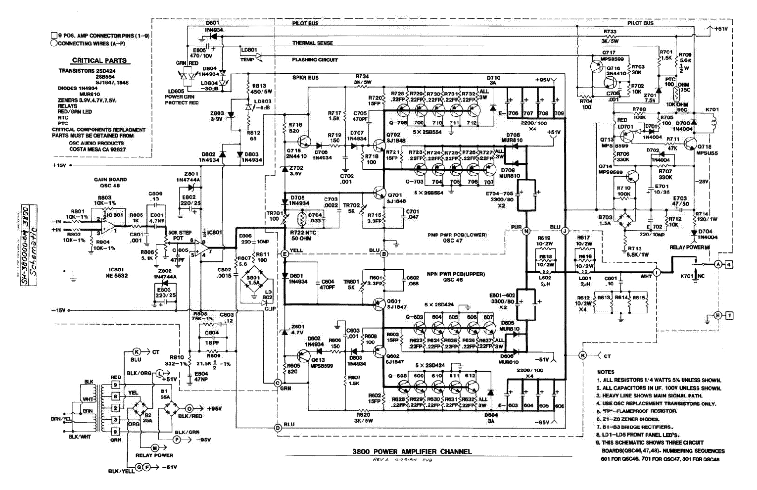 QSC 3800 Service Manual download, schematics, eeprom