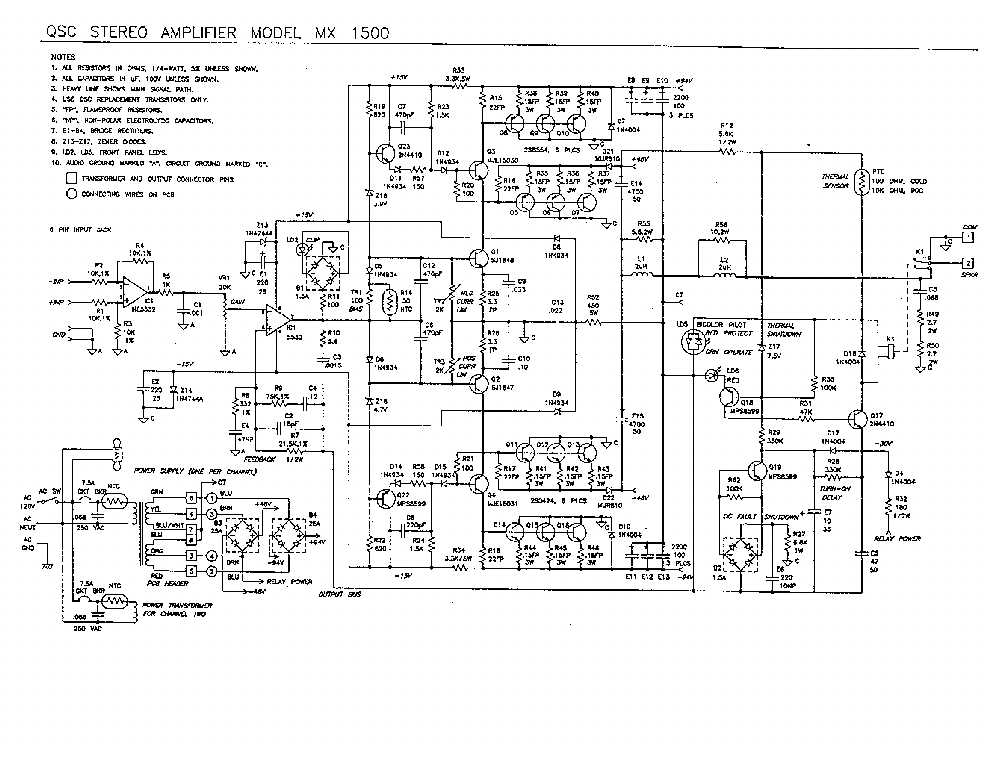 QSC MX1500 Service Manual download, schematics, eeprom