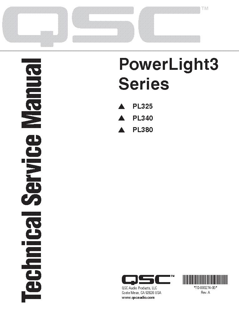 QSC POWERLIGHT3 PL325 PL340 PL380 Service Manual download