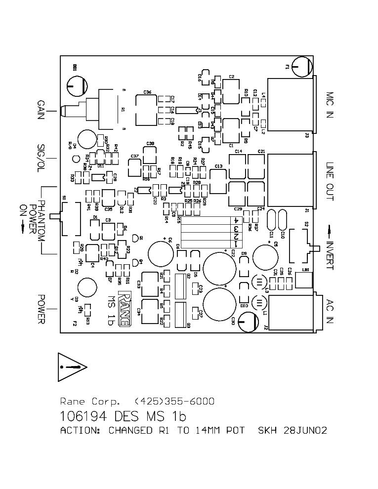 RANE MS1B SCH Service Manual download, schematics, eeprom