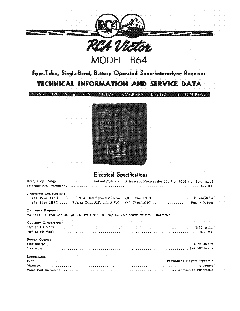 RCA VICTOR B64 SM Service Manual download, schematics