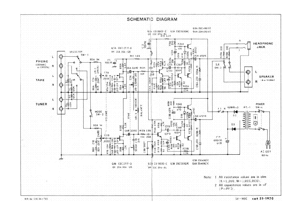 REALISTIC SA-100C STEREO AUDIO AMPLIFIER Service Manual
