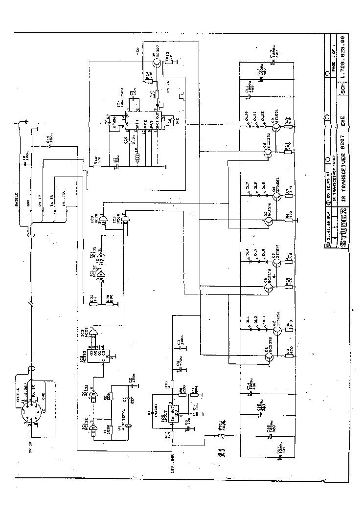 STUDER REVOX B-207 IR TRANSCEIVER 1989 SCH Service Manual