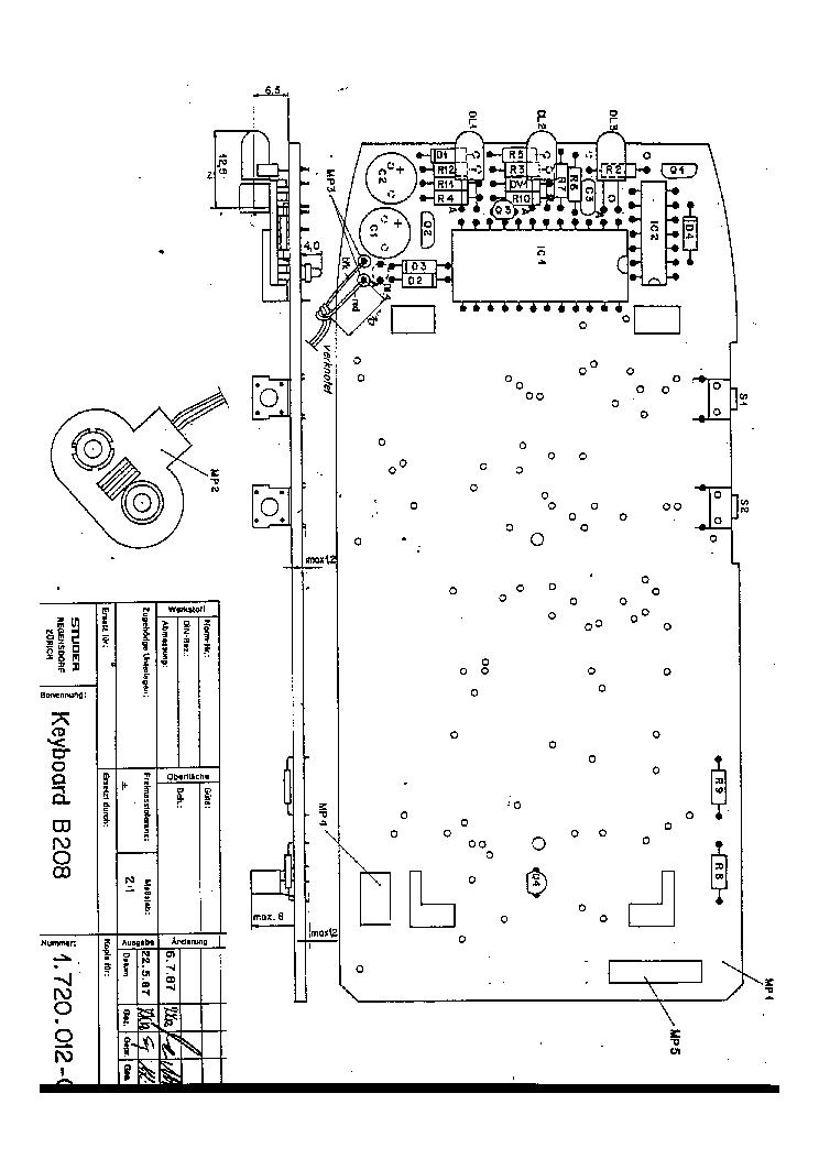 STUDER REVOX B-208 REMOTE CONTROL 1987 SCH Service Manual