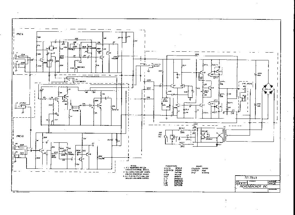 RICKENBACKER TR75GT Service Manual download, schematics
