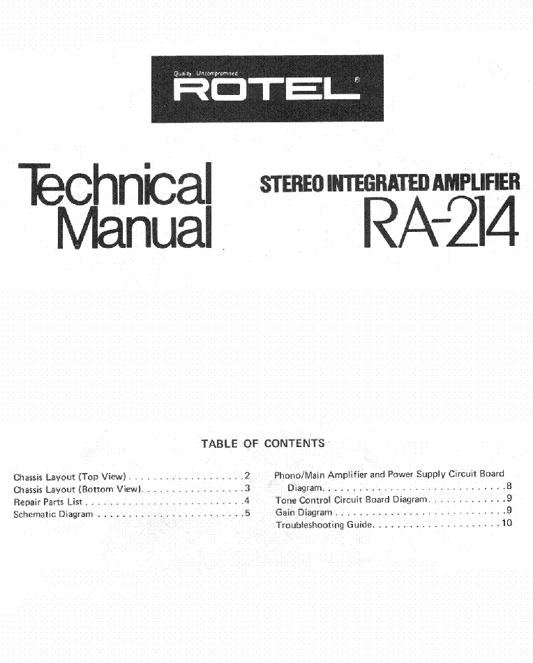 ROTEL RA-214 SM Service Manual download, schematics