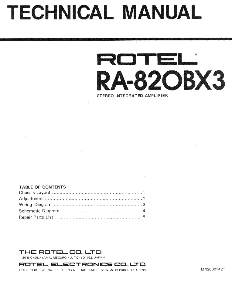 ROTEL RA-820BX3 SM Service Manual download, schematics