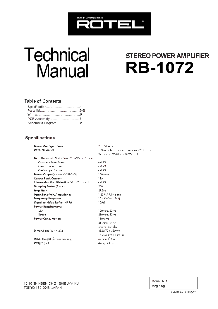 ROTEL RA-2040 SM Service Manual download, schematics