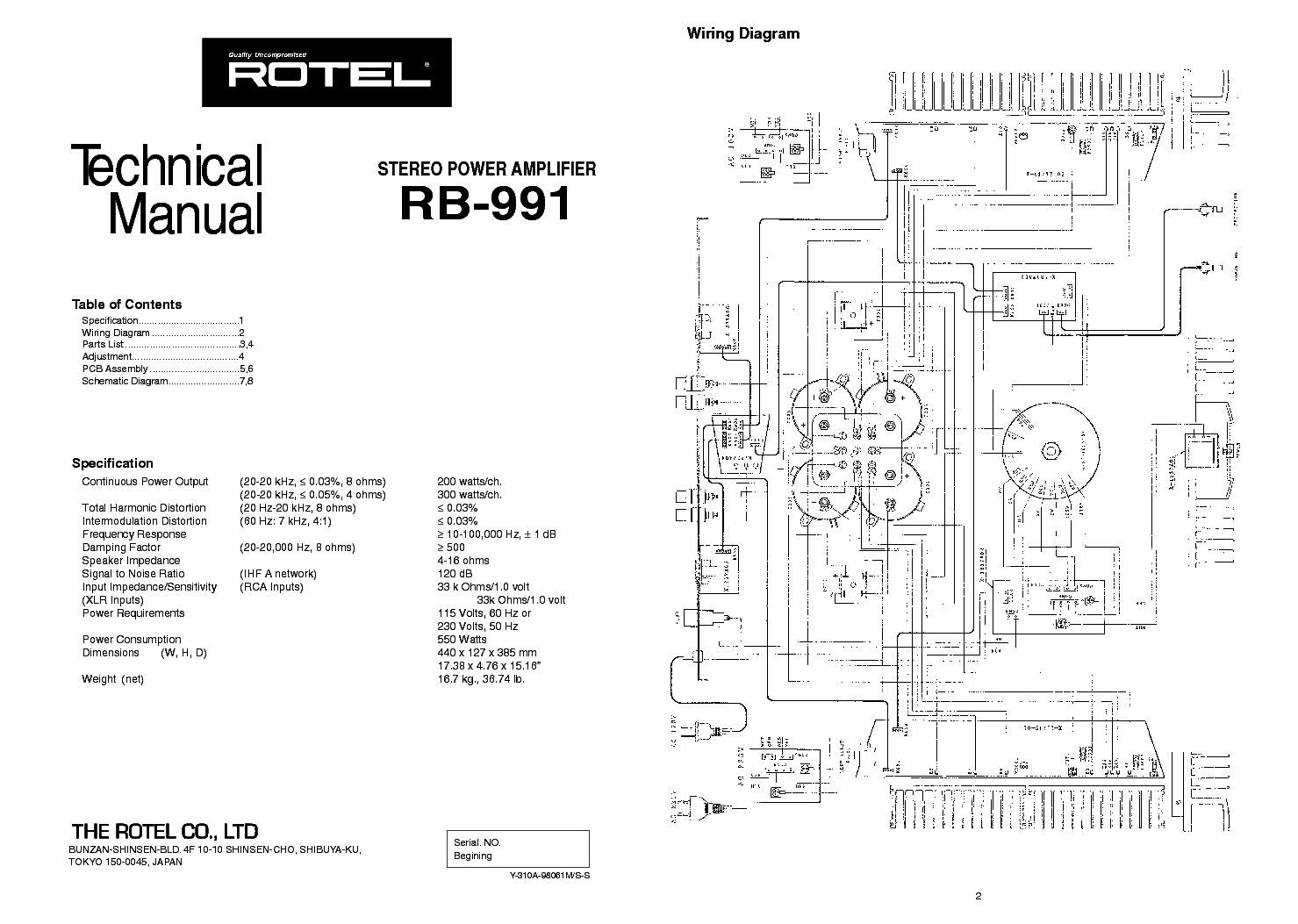 ROTEL RB 991 Service Manual download, schematics, eeprom