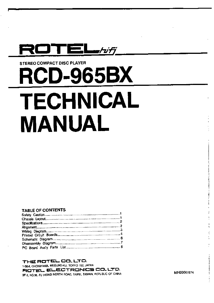ROTEL RP-700 SM Service Manual download, schematics