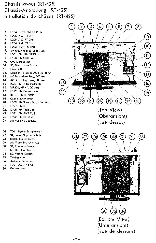 ROTEL RT-425 725 SM Service Manual download, schematics