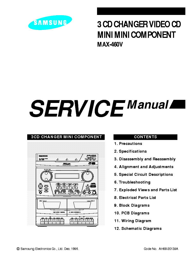 SAMSUNG MAX-460V Service Manual download, schematics