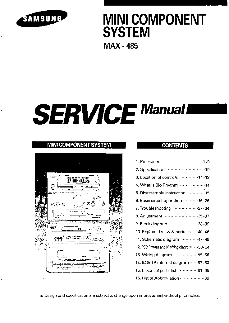 SAMSUNG MAX-485 Service Manual download, schematics