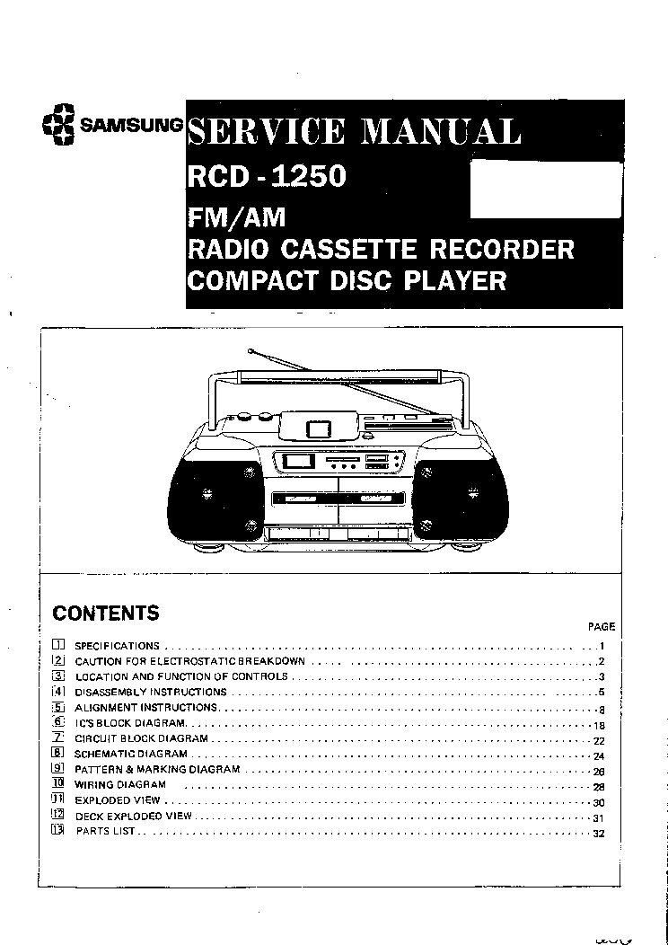 SAMSUNG RCD-1250 Service Manual download, schematics