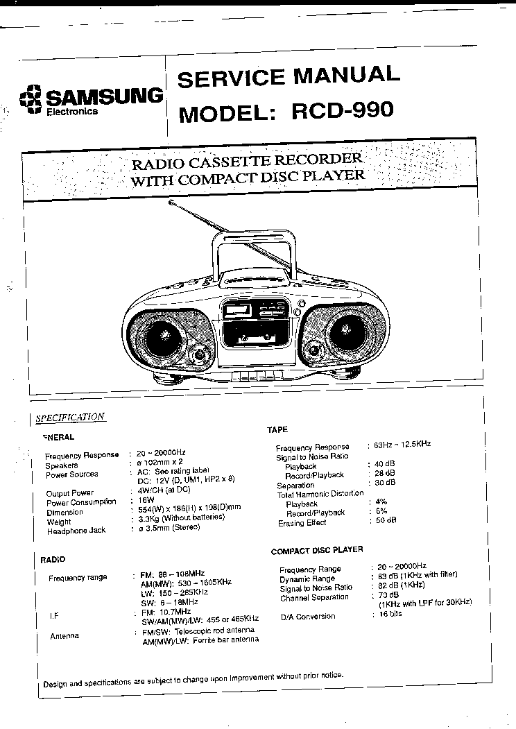 SAMSUNG RCD-750 Service Manual download, schematics