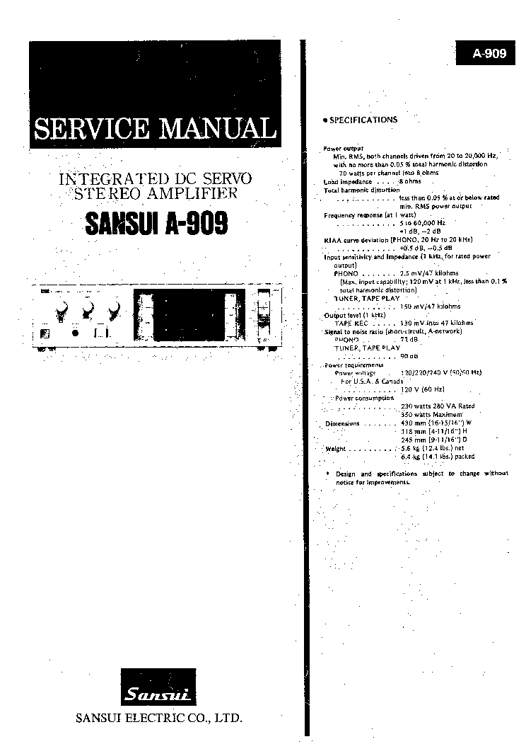 SANSUI AU-G55X AU-G33X INTEGRATED AMPLIFIER Service Manual