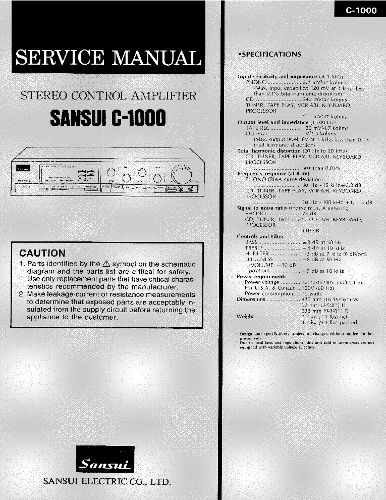 SANSUI C-1000 STEREO AMPLIFIER Service Manual download