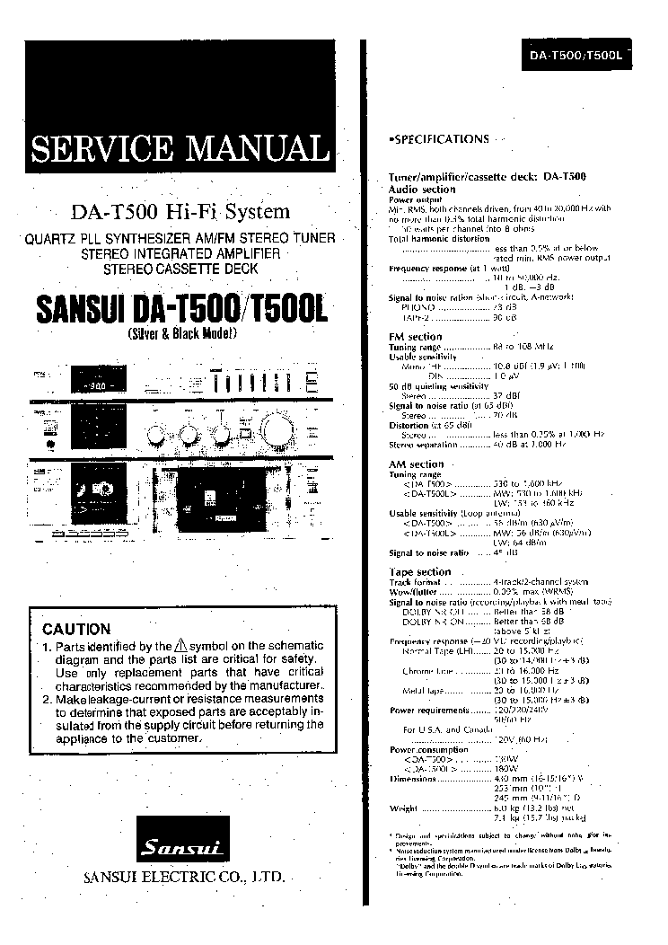 SANSUI DA-T500 T500L Service Manual download, schematics