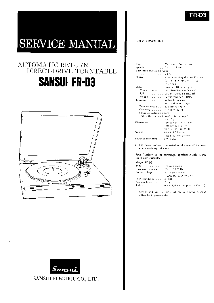 SANSUI AU-D5 AU-D7 SM Service Manual free download