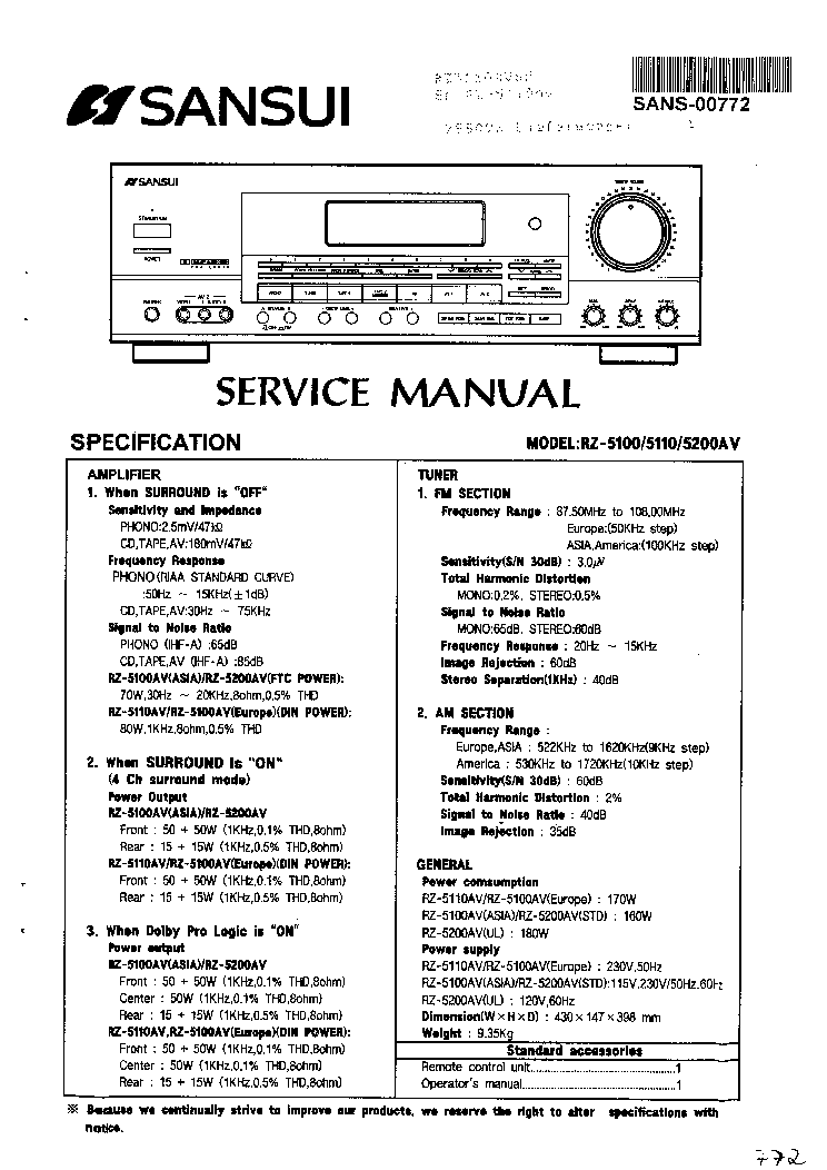 SANSUI AU-111 SCH Service Manual download, schematics